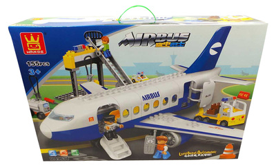 One Off Lot of 6 Building Brick Sets Wange 'Air Bus' Duplo-Style Kids DA9634